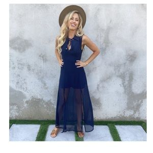 Dainty Hooligan Navy Blue Chiffon Dress